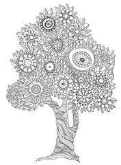 Floral doodle tree.