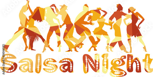 Naklejka Salsa nigh polygonal vector silhouette illustration with dancing couples, EPS 8