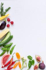 Healthy fresh food background raw organic vegetables