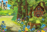 Cartoon farm scene with animal - illustration for children
