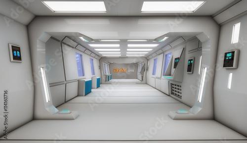 Staande foto Industrial geb. 3d render interior. Futuristic hallway. Interior concept design