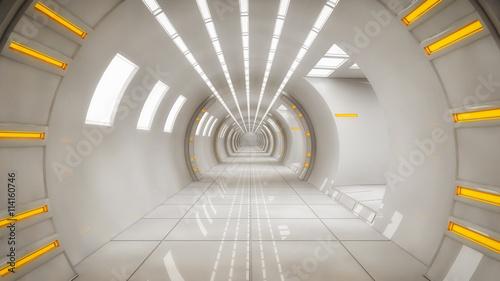 Naklejka 3d render interior. Futuristic hallway. Interior concept design