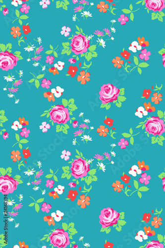 Ditsy roses print - seamless background