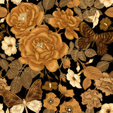 Seamless pattern with flowers roses and peonies