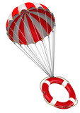 Lifebuoy on a parachute. Lifebuoy is falling down on parachute