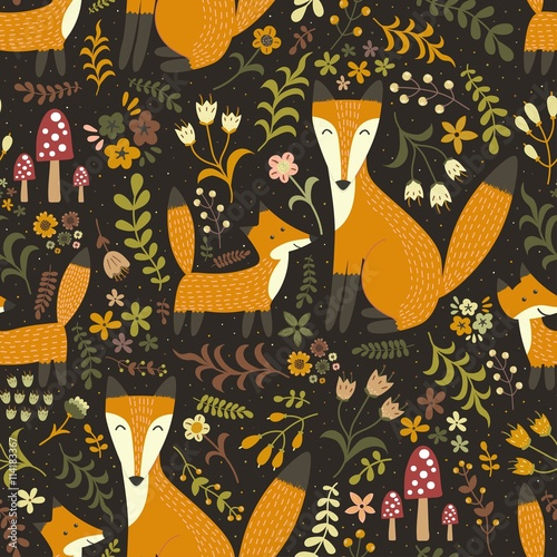 Cotton fabric Adorable seamless pattern with cute foxes - Mother fox and her baby