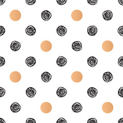 Seamless pattern with polka dot and stylish doodle. Casual texture.