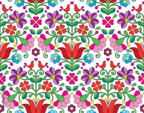 Fototapeta Kalocsai floral emrboidery seamless pattern - Hungarian folk art background