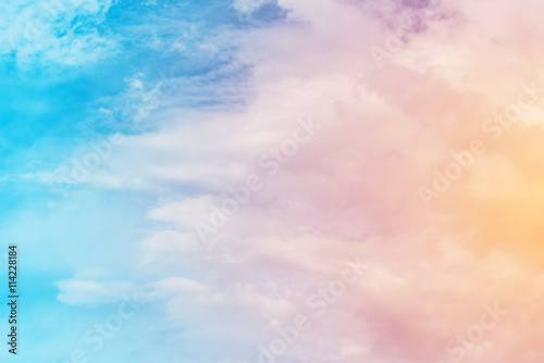 Poster sun and cloud background with a pastel colored