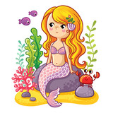 Fototapety Couple smiling jellyfish floating in the sea. Vector illustration of jellyfishes on a background of pink flowers.