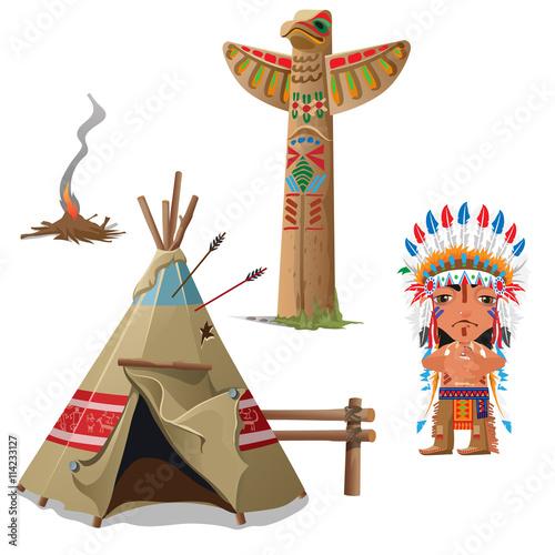 Fotobehang Indiërs Man, wigwam, bird totem and fire. Indian set