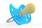 blue pacifier, 3D rendering
