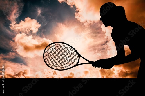 Composite image of tennis player playing tennis with a racket Poster