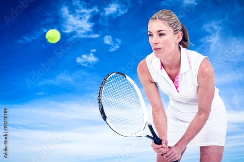 Poster Composite image of athlete playing tennis with a racket