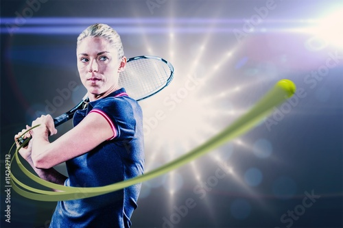 Obraz na plátně Composite image of tennis player playing tennis with a racket