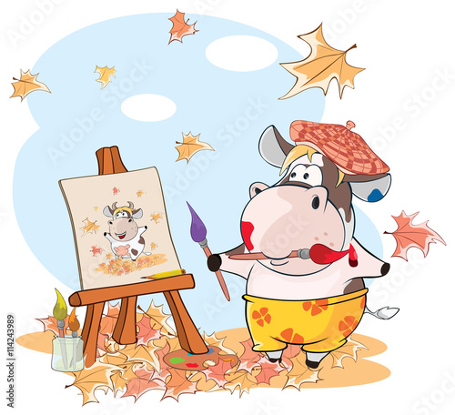Deurstickers Babykamer Illustration of a Cute Cow. The Adventures Of a Comic Artist