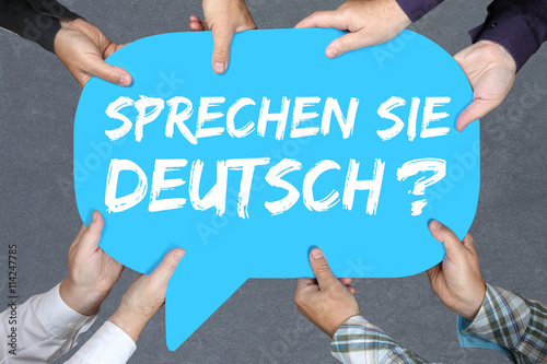 Naklejka Gruppe Menschen halten Sprechen Sie Deutsch Sprache Sprachen ler