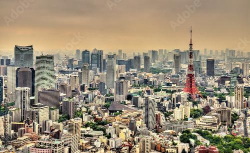 Fototapeta Aerial view of Tokyo Tower