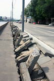 road work to replacement concrete curbs on street of Moscow