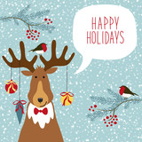 Cute hand drawn reindeer with speech bubble and hand written text on snowy background