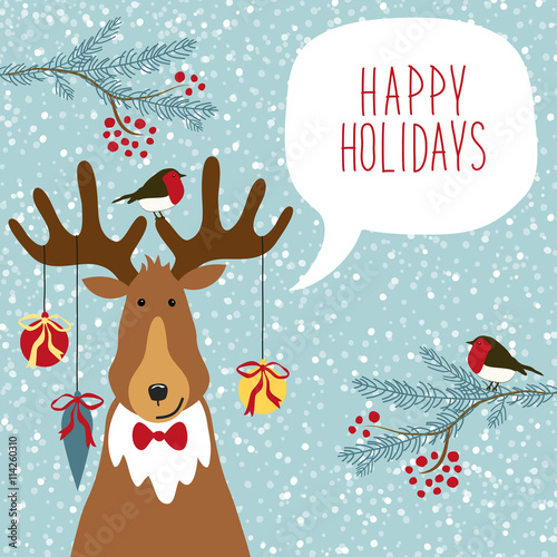 Fotobehang Hipster Hert Cute hand drawn reindeer with speech bubble and hand written text on snowy background