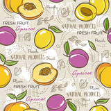 Seamless Patterns with apricot, plum and peach. Background with