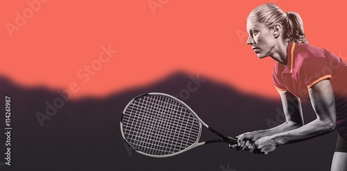 Poster Composite image of tennis player playing tennis with a racket