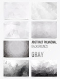 Triangulated abstract background in gray colour, set of backgrounds with low polygons motive - 114272942