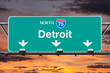 Detroit Interstate 75 North Highway Sign with Sunrise Sky