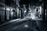 Moody monochrome view of Cortlandt Alley by night, in Chinatown, New York City - 114276356
