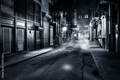 Foto op Canvas New York Moody monochrome view of Cortlandt Alley by night, in Chinatown, New York City