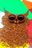 coffee beans owl on colorful background