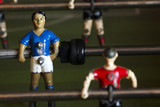 metal soccer players of  table football , selective focus