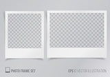 Set of polaroid frames with transparent background vector illustration, frames with shadow - 114300700