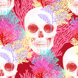 Seamless vector pattern with coral and skull.