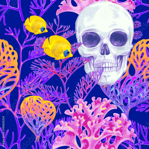 Seamless vector pattern with coral and skull. - 114303334