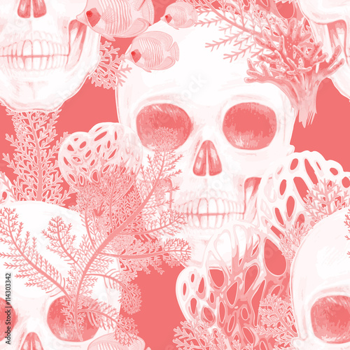 Seamless vector pattern with coral and skull. - 114303342
