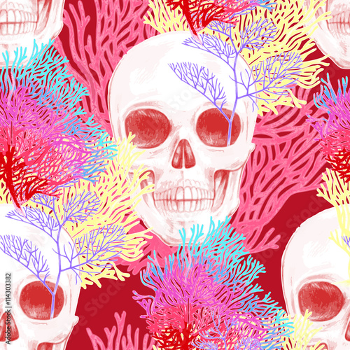 Seamless vector pattern with coral and skull. - 114303382