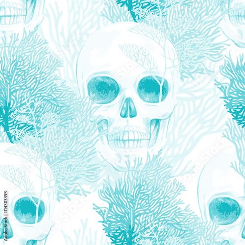 Seamless vector pattern with coral and skull. - 114303393