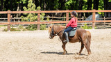 little girl is riding a horse - 114309550