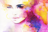 abstract woman portrait. watercolor illustration  - 114312591