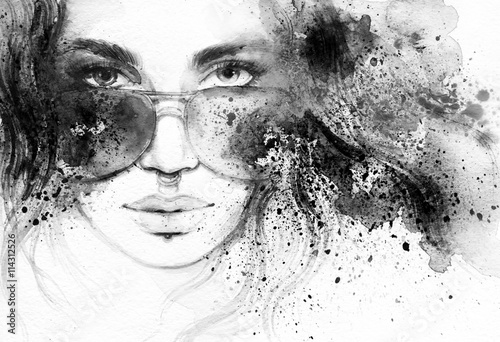 abstract woman portrait. watercolor illustration © Anna Ismagilova
