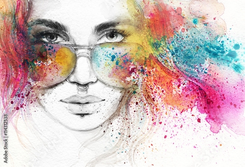 Fototapety, obrazy : abstract woman portrait. watercolor illustration