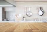 Wood table top with blur kitchen background , empty wooden table - 114313518
