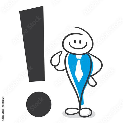 Stick Figure Series Blue / Ausrufezeichen