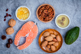 Selection food sources of omega 3 and unsaturated fats. Super fo - 114316324