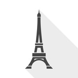 Vector Eiffel Tower Icon with long shadow