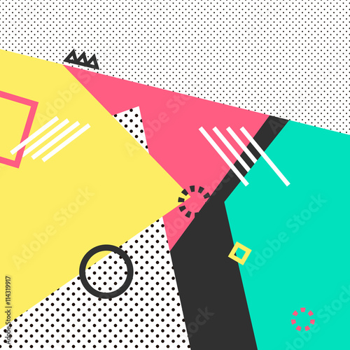 Trendy geometric elements memphis cards. Retro style texture, pattern and geometric elements. Modern abstract design poster, cover, card design. - 114319917