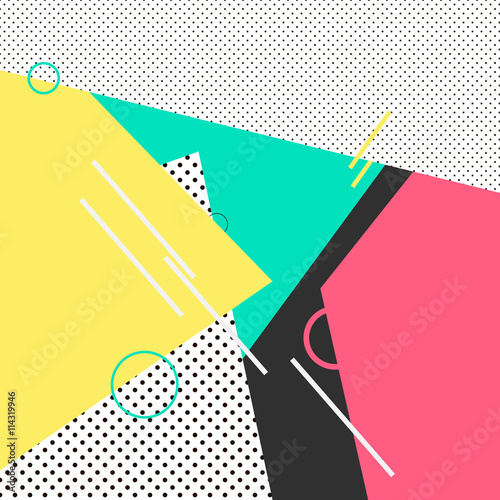 Trendy geometric elements memphis cards. Retro style texture, pattern and geometric elements. Modern abstract design poster, cover, card design. - 114319946