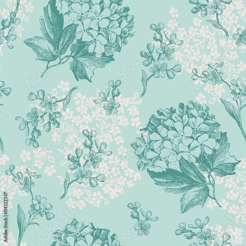 Turquoise Flowers Seamless Pattern